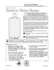 Rheem Direct Vent Gas Tankless Water Heater Manuals