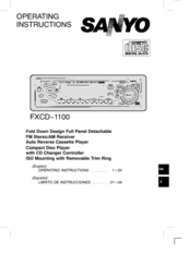 Sanyo FXCD-1100 - Radio / CD Operating Instructions Manual