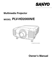 Sanyo HD2000 - LCD Projector - 7000 ANSI Lumens Owner's Manual