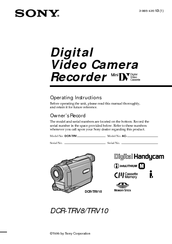 Sony DCR-TRV8 Operating Instructions Manual