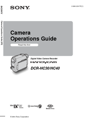 Sony DCR-HC30 - Handycam Camcorder - 680 KP Operation Manual