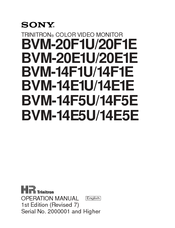 Sony TRINITRON BVM-14F1U Operation Manual