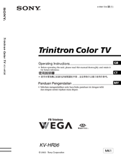 Sony KV-HR36 Operating Instructions Manual