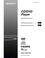 Sony DVPNS77H - DVP DVD Player Operating Instructions Manual