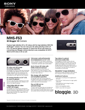 Sony 3D Bloggie MHS-FS3 Specifications