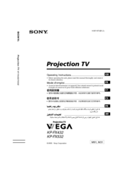 Sony KP-FX432M91 Operating Instructions Manual
