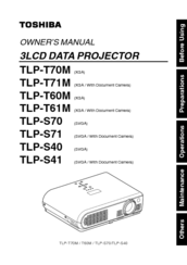 Toshiba TLP-T61M Owner's Manual