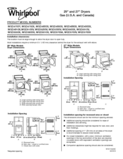 Whirlpool WGD4900XW Dimensions And Installation
