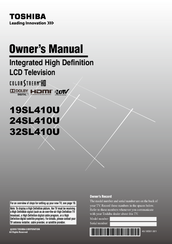 Toshiba 19SL410U Owner's Manual