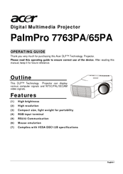 Acer 7765PA - PalmPro XGA DLP Projector Operating Manual