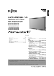 Fujitsu P42VHA30W, P42HHA30W User Manual