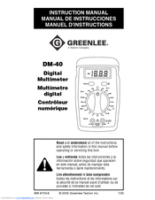greenlee dm 40 manuals rh manualslib com Instruction Manual Book Owner's Manual
