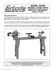 Grizzly G0462 Manual Addendum