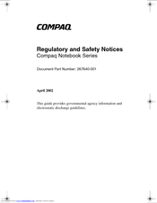 HP Compaq nc6230 Regulatory And Safety Notices