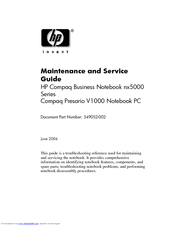HP Compaq Presario Maintenance And Service Manual