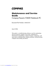 HP Compaq Presario,Presario V2638 Maintenance And Service Manual