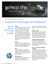 HP 4510s - ProBook - Celeron 1.8 GHz Accessories Manual