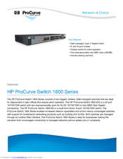 HP ProCurve Switch 1800-24G Specifications