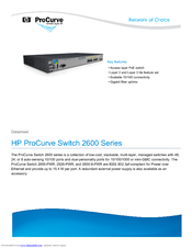 HP ProCurve Switch 2600-8-PWR with Gigabit Uplink Datasheet
