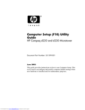 HP Compaq d230 MT Supplementary Manual