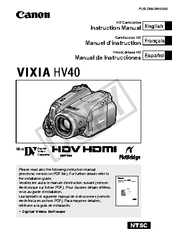 Canon Vixia HV40 Instruction Manual