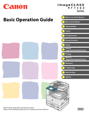 Canon imageCLASS MF7460 Basic Operation Manual