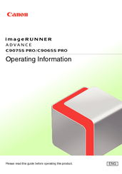 Canon imageRUNNER ADVANCE C9065S PRO Operating Information Manual