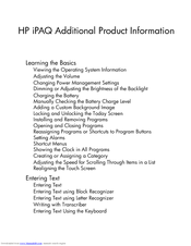 HP iPAQ hx2100 - Pocket PC Additional Information