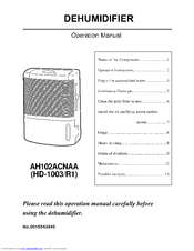 Haier AH102ACNAA Operation Manual