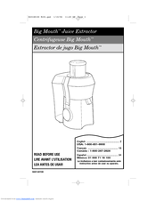 Hamilton Beach 67650 - Big Mouth Pro Juice Extractor User Manual