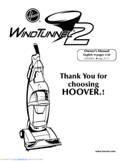 Hoover U8371900 - WindTunnel 2 Complete Bagless Upright Vacuum Owner's Manual