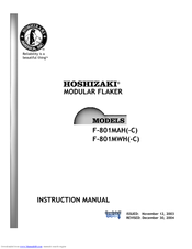 hoshizaki f 801mwh c manuals we have 6 hoshizaki f 801mwh c manuals available for pdf service manual instruction manual parts list specifications