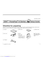 IBM ThinkPad A31 Setup Manual