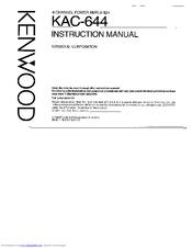 KENWOOD KAC-644 INSTRUCTION MANUAL Pdf Download. on