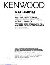 Kenwood KAC-X401M Manuals on