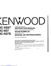 Kenwood KRC-X657 Instruction Manual
