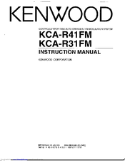 Kenwood KCA-R31FM Instruction Manual