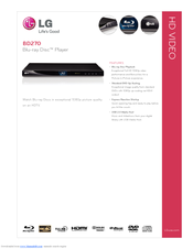 LG BD270 -  Blu-Ray Disc Player Specifications