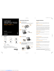 Lenovo Y550 - IdeaPad 4186 - Core 2 Duo GHz Quick Start