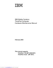lenovo thinkpad t30 2366 manuals rh manualslib com Lenovo ThinkPad 421 Lenovo T510 Docking Station