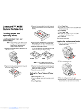 Lexmark X644E - With Modem Taa/gov Quick Reference Manual