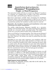 Lowrance Skimmer Transducer Manuals