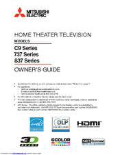 mitsubishi electric wd 60737 owner s manual pdf download rh manualslib com