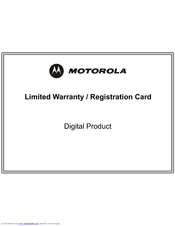 Motorola HDT101 Limited Warranty