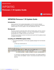 Motorola WPS870G - Wireless Print Server Update Manual