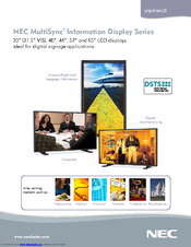 NEC LCD4020-BK-AV - 40IN LCD 1200:1 1366X768 60HZ Dvi-d 8MS Specification
