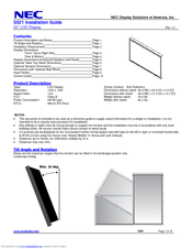NEC MultiSync S521 Installation Manual