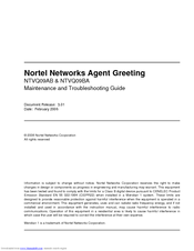 NORTEL AGENT GREETING NTVQ09AB MAINTENANCE AND