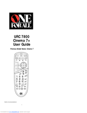 One for All URC-7800 Cinema 7+ User Manual