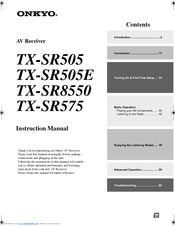 onkyo tx sr505 instruction manual pdf download rh manualslib com onkyo tx sr505 manual pdf onkyo tx-sr505e manual download